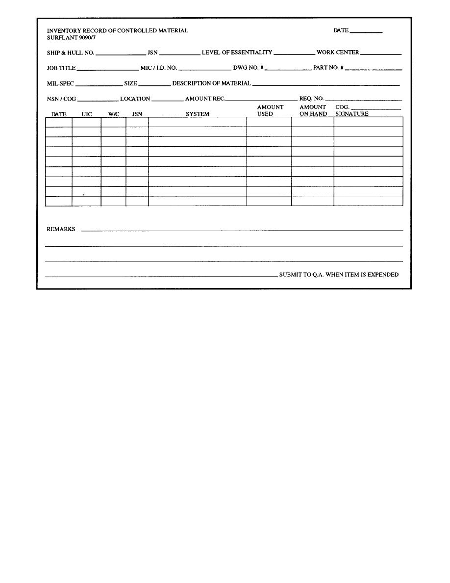 Figure 2-6.-QA Form 7, Controlled Material Inventory/Record.